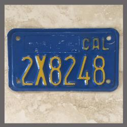 1970 - 1980 California YOM Motorcycle License Plate For Sale - 2X8248