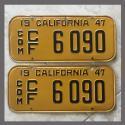 1947 California YOM License Plates For Sale - Original Vintage Pair 6090 Truck