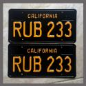 1963 California YOM License Plates For Sale - Restored Vintage Pair RUB233