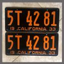 1933 California YOM License Plates Pair Original 5T4281