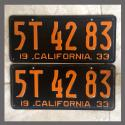 1933 California YOM License Plates Pair Original 5T4283