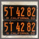1933 California YOM License Plates Pair Original 5T4282