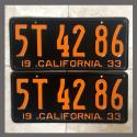 1933 California YOM License Plates Pair Original 5T4286
