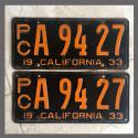 1933 California YOM License Plates For Sale - Original Pair A9427 Truck