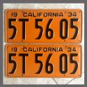 1934 California YOM License Plates For Sale - Original Vintage Pair 5T5605