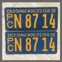 1939 California YOM License Plates For Sale - Original Pair N8714 Truck