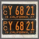1937 California YOM License Plates For Sale - Original Pair Y6821 Truck