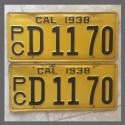 1938 California YOM License Plates For Sale - Original Pair D1170 Truck