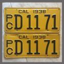 1938 California YOM License Plates For Sale - Original Pair D1171 Truck