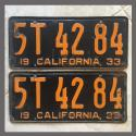 1933 California YOM License Plates Pair Original 5T4284