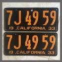 1933 California YOM License Plates Pair Original 7J4959