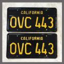 1963 California YOM License Plates For Sale - Vintage Pair OVC443