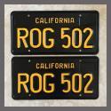 1963 California YOM License Plates For Sale - Restored Vintage Pair ROG502