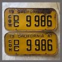1947 California YOM License Plates For Sale - Original Vintage Pair 9986 Truck