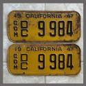1947 California YOM License Plates For Sale - Original Vintage Pair 9984 Truck