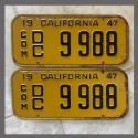 1947 California YOM License Plates For Sale - Original Vintage Pair 9988 Truck