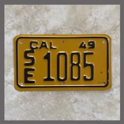 1949 California Motorcycle License Plate For Sale - 1085
