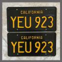 1963 California YOM License Plates For Sale - Restored Vintage Pair YEU923