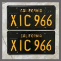 1963 California YOM License Plates For Sale - Restored Vintage Pair XIC966