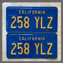 1970 - 1980 California YOM License Plates For Sale - Restored Vintage Pair 258YLZ