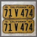 1947 California YOM License Plates Pair Original 71V474