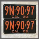 1929 California YOM License Plates For Sale - Restored Vintage Pair 9N9097