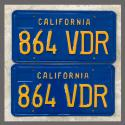 1970 - 1980 California YOM License Plates For Sale - Restored Vintage Pair 864VDR