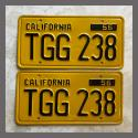 1956 California YOM License Plates For Sale - Restored Vintage Pair TGG238