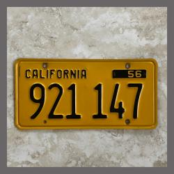 1956 California YOM Trailer License Plate For Sale - Original Vintage 921147
