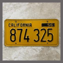 1956 California YOM Trailer License Plate For Sale - Original Vintage 874325