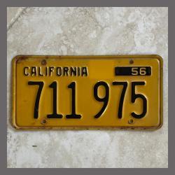 1956 California YOM Trailer License Plate For Sale - Original Vintage 711975
