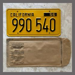 1956 California YOM Trailer License Plate For Sale - Original Vintage 990540 NOS