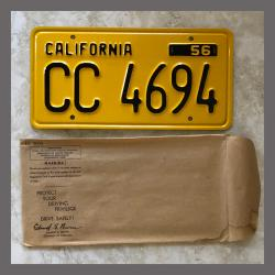 1956 California YOM Trailer License Plate For Sale - Original Vintage CC4694 NOS