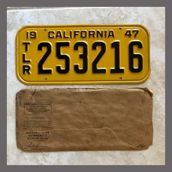 1947 California Trailer License Plate For Sale - Original Vintage 253216 NOS
