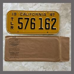 1947 California Trailer License Plate For Sale - Original Vintage 576162 NOS