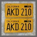 1956 California YOM License Plates For Sale - Repainted Vintage Pair AKD210