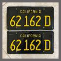 1963 California YOM License Plates For Sale - Repainted Vintage Pair 62162D Truck