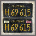 1963 California YOM License Plates For Sale - Original Vintage Pair H69615 Truck