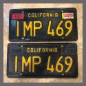 1963 California YOM License Plates For Sale - Original Vintage Pair IMP469