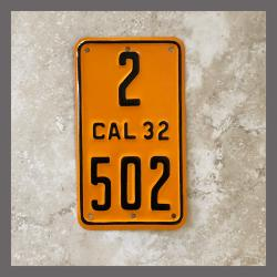 1932 California YOM Motorcycle License Plate For Sale - 2502