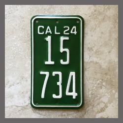 1924 California YOM Motorcycle License Plate For Sale - 15734
