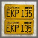 1956 California YOM License Plates For Sale - Original Vintage Pair EKP135