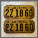 1940 California YOM License Plates For Sale - Original Vintage Pair 2Z1860