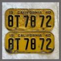 1940 California YOM License Plates For Sale - Original Vintage Pair 8T7872