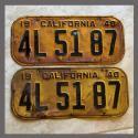 1940 California YOM License Plates For Sale - Original Vintage Pair 4L5187