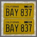 1956 California YOM License Plates For Sale - Restored Vintage Pair BAY837