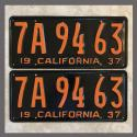 1937 California YOM License Plates For Sale - Restored Vintage Pair 7A9463