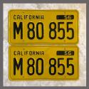 1956 California YOM License Plates For Sale - Restored Vintage Pair M80855 Truck