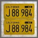 1956 California YOM License Plates For Sale - Restored Vintage Pair J88984 Truck