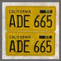 1956 California YOM License Plates For Sale - Restored Vintage Pair ADE665